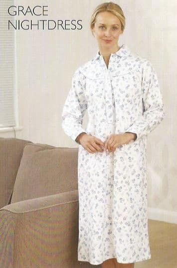 Womens 100% Brushed Cotton Long Sleeved Nightdress