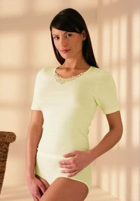 Angora Short Sleeved Top with Lace Trim   Totally Warm