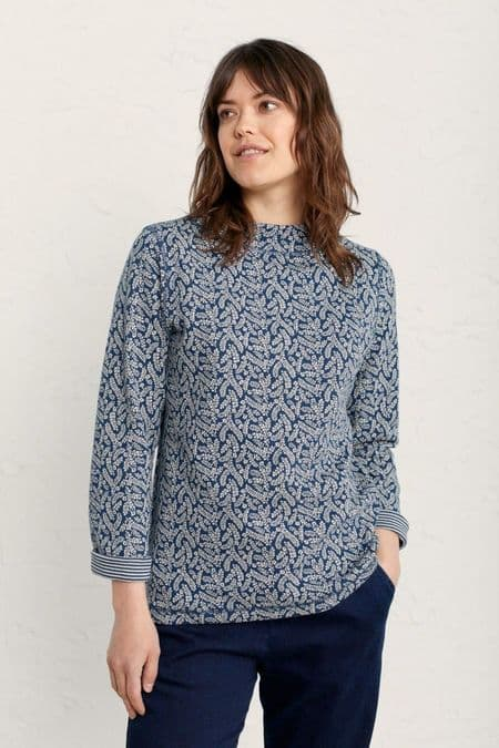 Shore Sighting Top. Sea Leaves Rich Blue